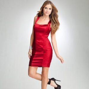 Bebe Red Hot Satin Bustier Cross Back Dress XS